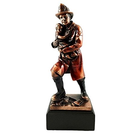 Child Bronze Figurine - Men of Duty 911 Fireman Fire Fighter Saving Child Bronze Electroplated Figurine With Base