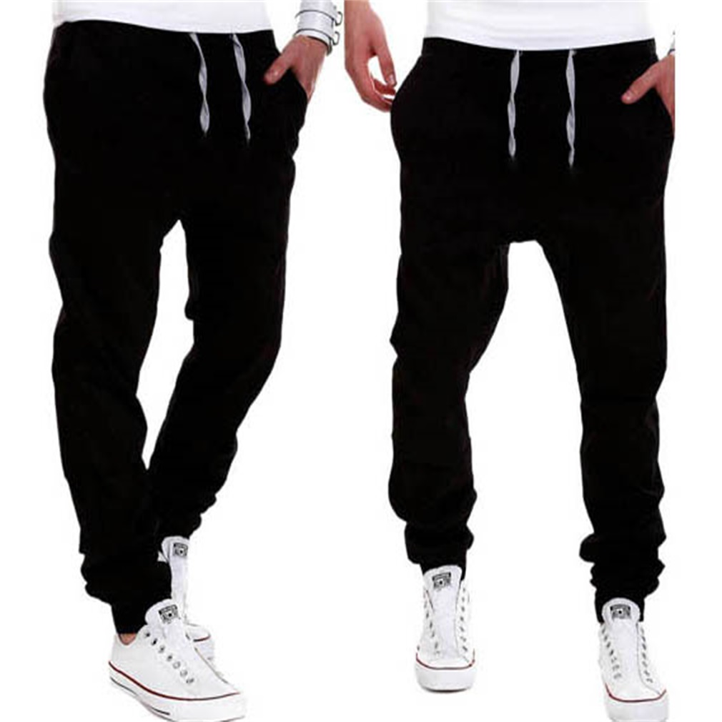 Men Male Casual Solid Cotton Pants Sweatpants Jogger Pocket Trousers