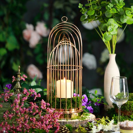 BalsaCircle Gold Metal Bird Cage Candle Holder - Party Wedding Event Home Decorations Centerpieces Discounted Supplies (Gold Birdcage)