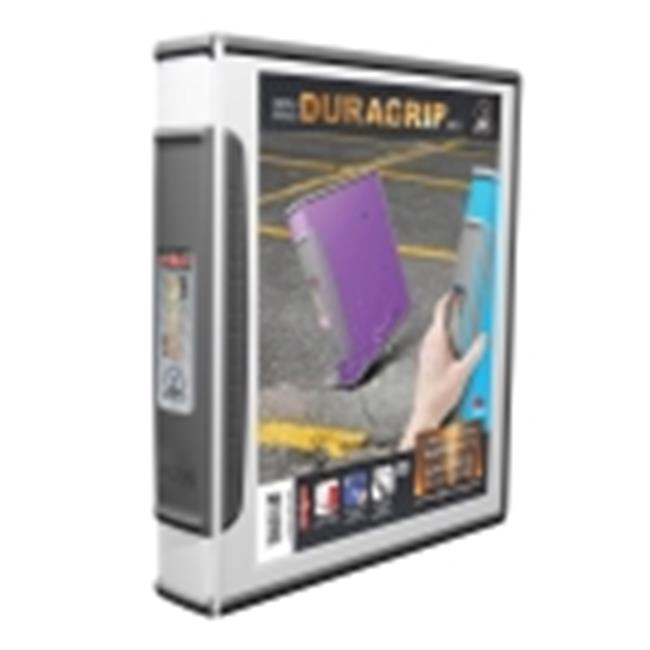 Storex Dura Grip Rubber Edge Heavy Duty D-Ring View Binder - 1 in. - White & Dark Gray