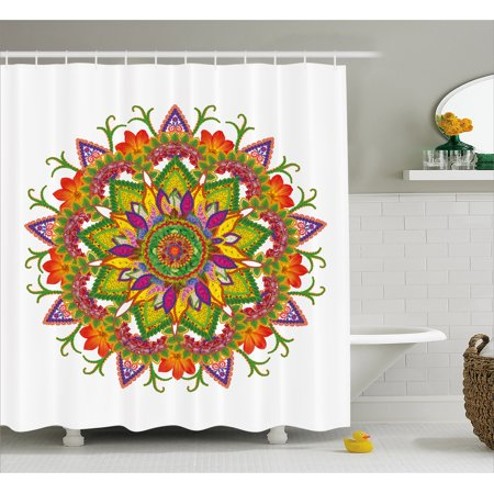 Lotus Shower Curtain Colorful Floral Mandala Life Themed Sacred Cosmos Icon With Botany Bouquet Effects