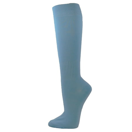 Cuthbertson Blue Willow - Couver Unisex Polyester Soccer Knee High Sports Athletic Socks, Cerulean Blue Large