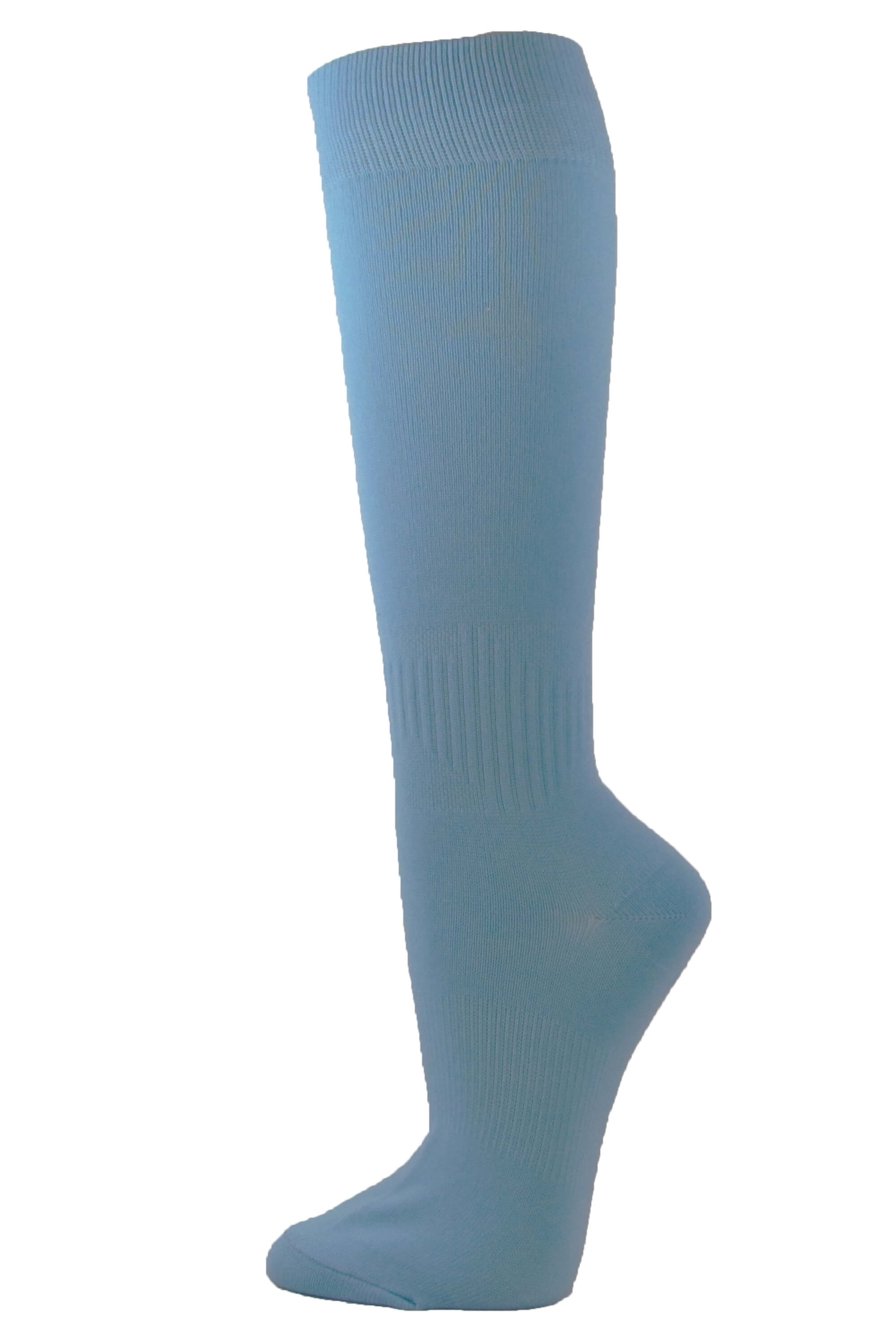 Couver Unisex Polyester Soccer Knee High Sports Athletic Socks, Cerulean Blue Large