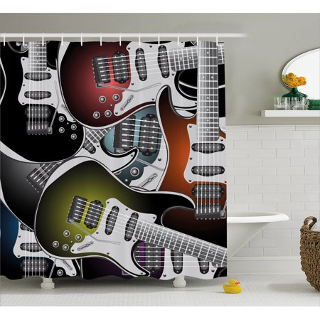 Popstar Party Shower Curtain, Pile of Graphic Colorful Electric Guitars Rock Music Stringed Instruments, Fabric Bathroom Set with Hooks, Multicolor, by Ambesonne