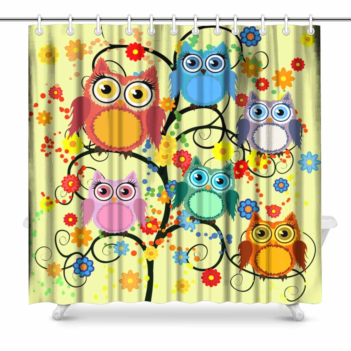 Mkhert Owls Shower Curtain Home Decor Bathroom Shower Curtain 66x72 Inch