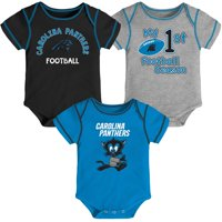 Newborn & Infant Black/Blue/Gray Carolina Panthers Team 3-Pack Bodysuit Set