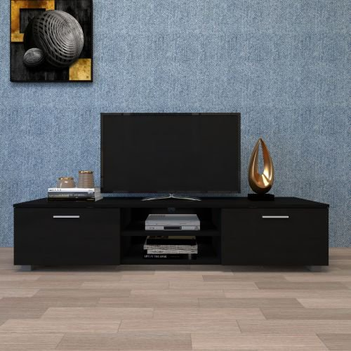 Black Tv Stand For 65 Inch Tv Stands Media Console Entertainment Center Television Table 2 Storage Cabinet With Open Shelves For Living Room Bedroom Walmart Com Walmart Com
