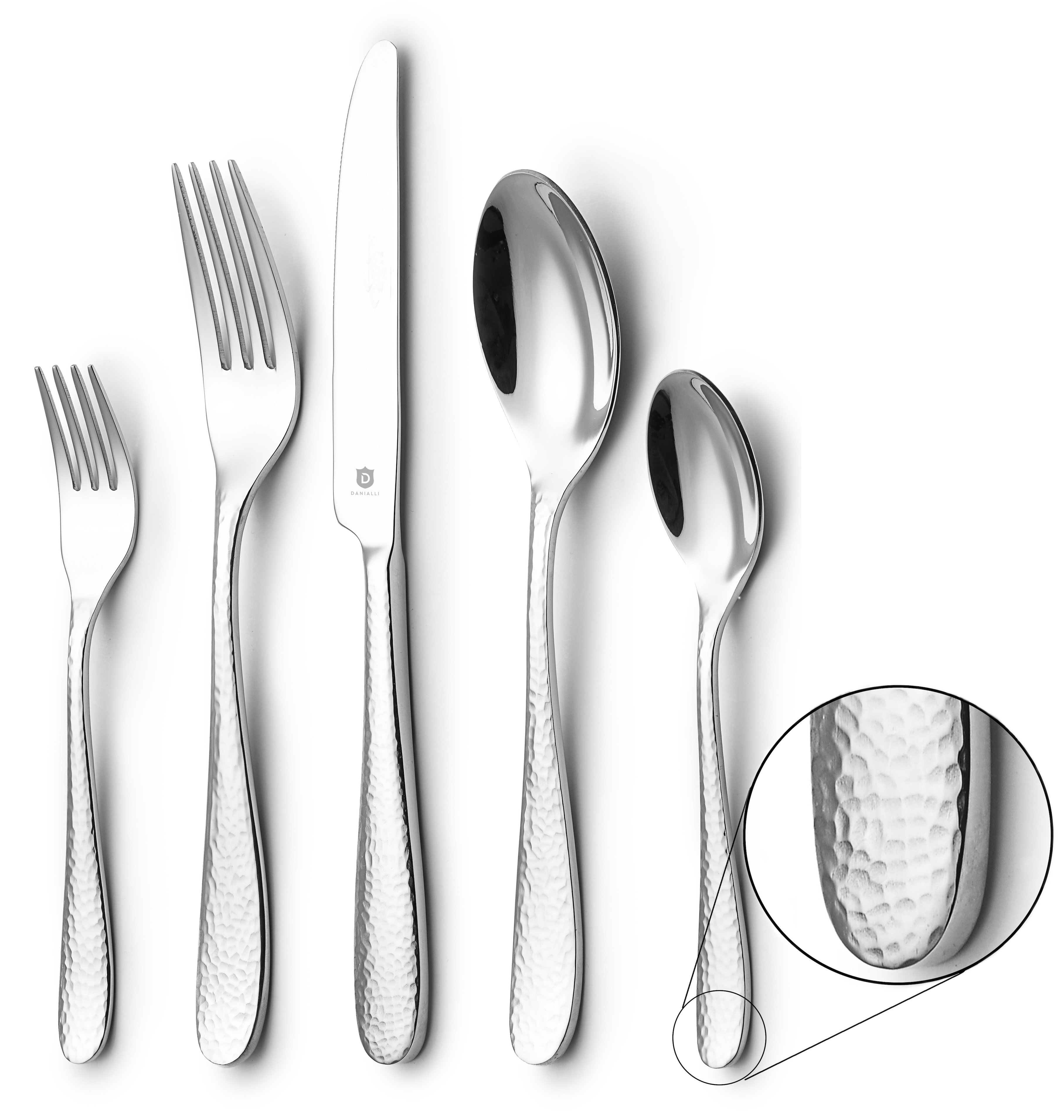 DANIALLI 20-Piece Silverware Set For 4, Modern Hammered Design Flatware Set, 18 10 Stainless Steel Utensils, Include Knife/Fork/Spoon, Mirror Polished Set of Cutlery, Dishwasher Safe