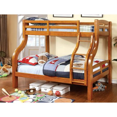 Furniture of america utaria curvy twin over full bunk bed for Furniture of america pello full over full slatted bunk bed
