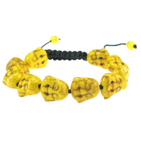 Yellow Turquoise Stone Happy Buddha Adjustable Macrame Style Bracelet - Good for Healing and Protection - 91064 ()