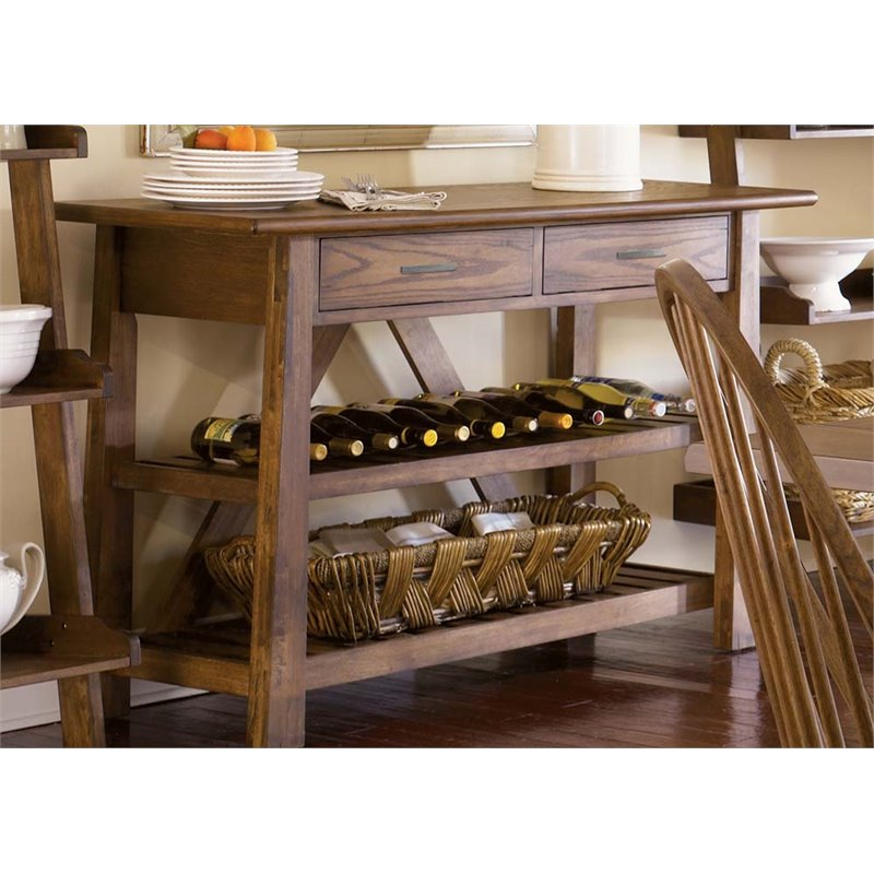 Liberty Furniture Farmhouse Wine Rack Server in Weathered Oak