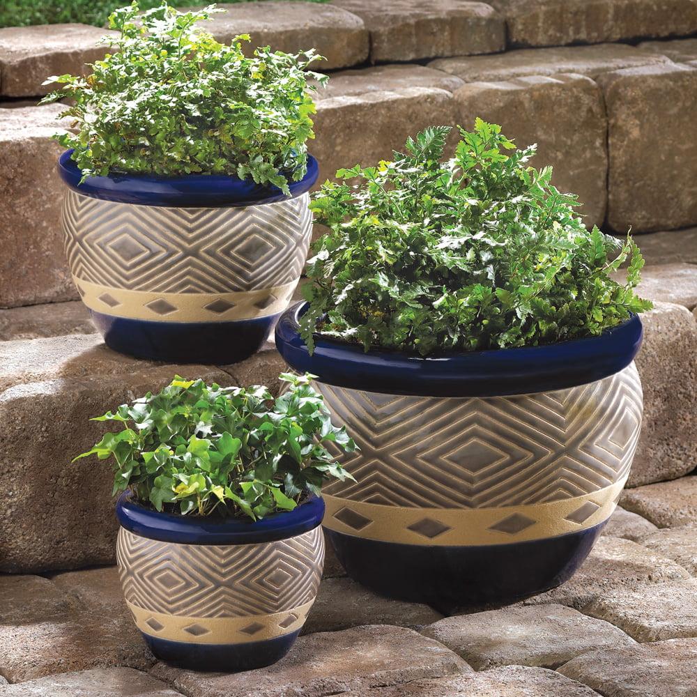 Patio Planter Decorative Outdoor Planters Ceramic Gardening Cobalt Trio