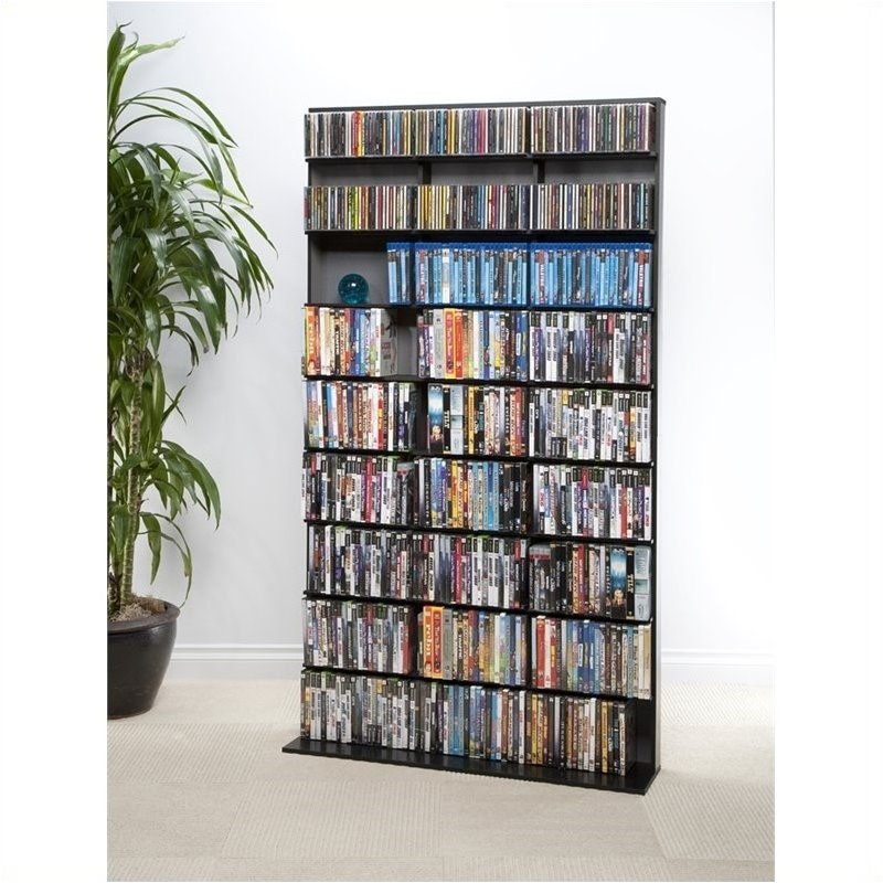 "Pemberly Row 72"" Large Media Rack in Black by Pemberly Row"