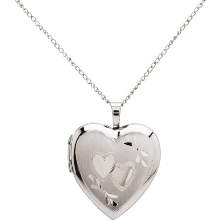 double heart engraved sterling silver heart locket pendant