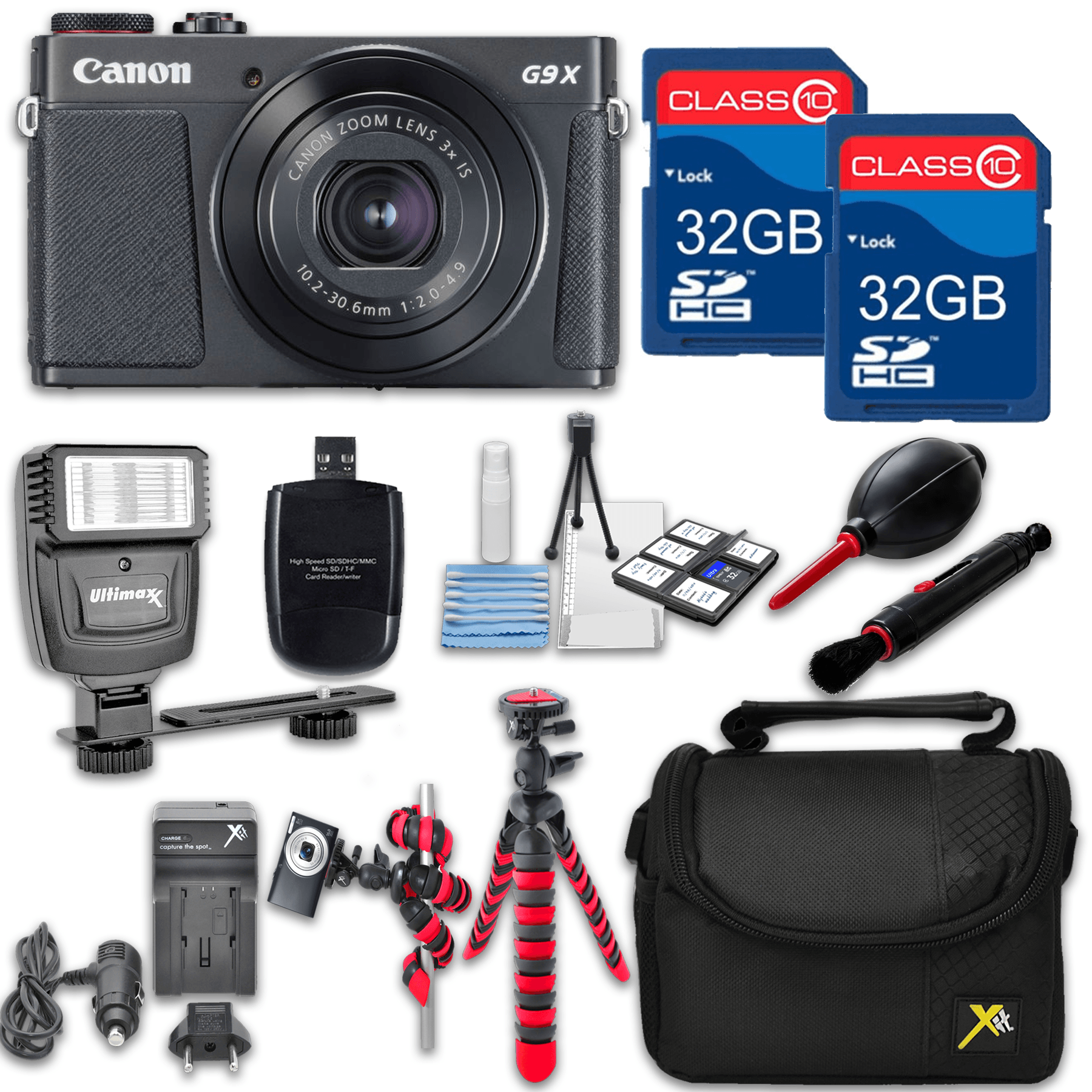 Canon Powershot G9 X Mark II (Black) HS Point and Shoot Digital Camera, W/ Case + 64GB Memory + Flash + Tripod + Case + Cleaning Kit + More