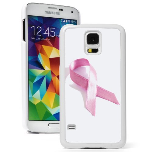 Samsung Galaxy (S5 Active) Hard Back Case Cover Pink Breast Cancer Ribbon (White)