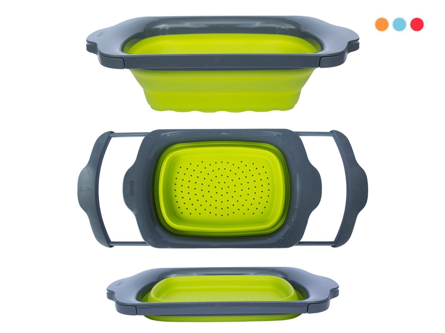 Colander Collapsible Green & Grey Over the Sink Colander with Handles Folding Strainer for Kitchen 6-quart Capacity By Comfify by