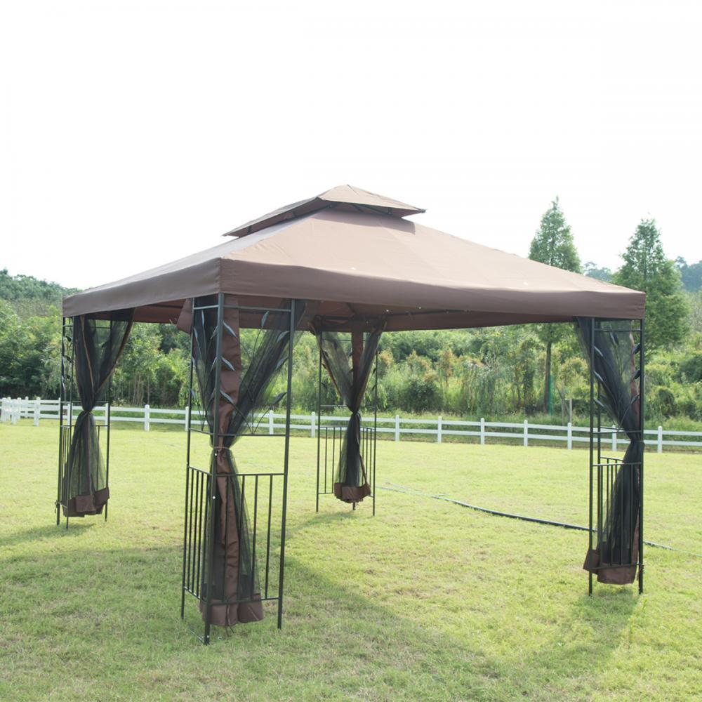 12'X 10' Outdoor Gazebo Steel Frame Vented Gazebo W  Netting Brown N34 by
