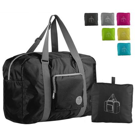 85262b4d021 WANDF T302 Foldable Travel Duffel Bag for Luggage, Sports   Gym, Rip-stop  Water Resistant Nylon, Black - Walmart.com
