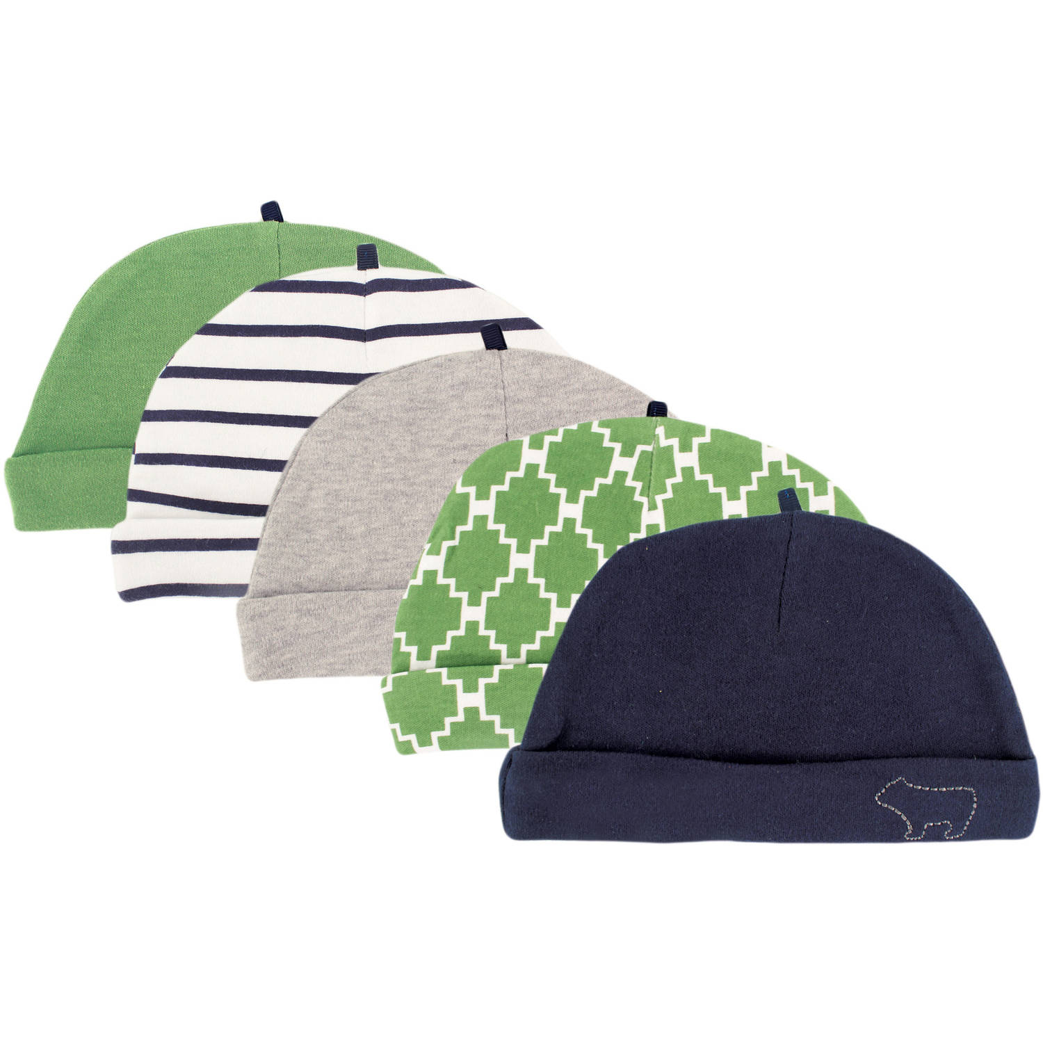 Yoga Sprout Newborn Baby Boys Cap 5-Pack - Bear, 0-6 months