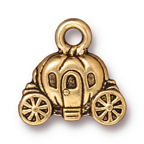 22K Gold Plated Pewter Cinderella Carriage Charm 14.5mm (1)