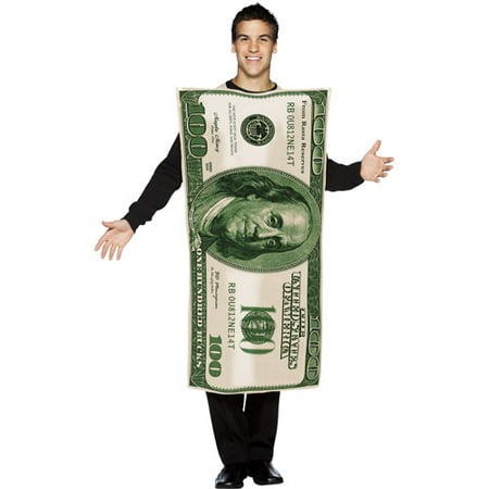 100 Dollar Bill Men's Adult Halloween Costume, One Size, (40-46) - Bill Halloween Costume