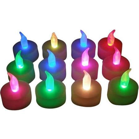 Flameless Tea Light Waxless Candels, Multi-Color](Multi Colored Led Tea Lights)