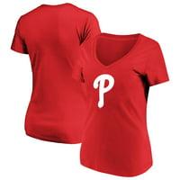Women's Majestic Red Philadelphia Phillies Top Ranking V-Neck T-Shirt