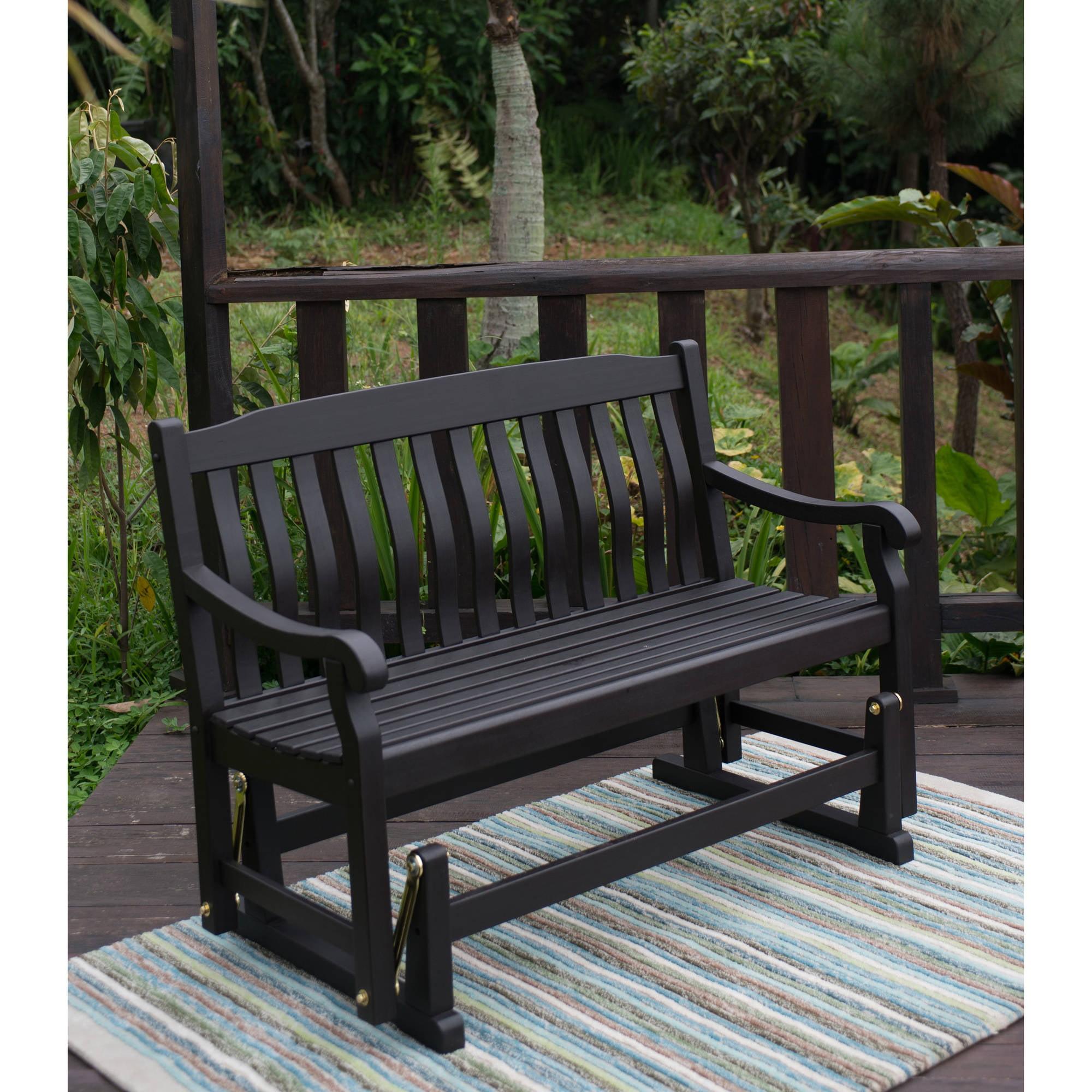 Delahey Outdoor Porch Glider Bench, Dark Brown, Seats 2