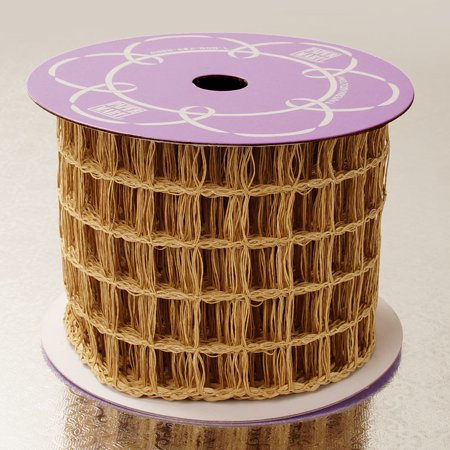 Natural Kraft Big Square Mesh 3-3/4 inches x 10 yards Net Wired Solid - Big Ribbons