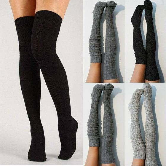 673bffa46bc ZAXARRA - Sexy Women Warm Knit Over Knee Thigh High Stockings Knitted  Tights Long Socks Gray - Walmart.com