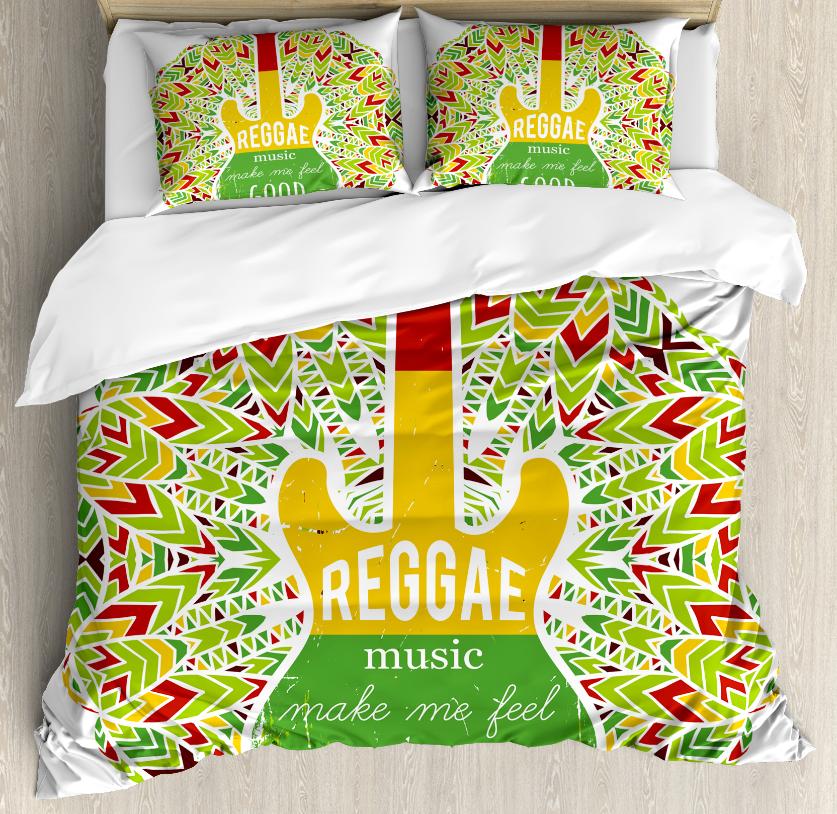 Rasta Queen Size Duvet Cover Set, Reggae Music Makes Me Feel Good Quote Jamaican Island Culture Iconic Guitar, Decorative 3 Piece Bedding Set with 2 Pillow Shams, Green Yellow and Red, by Ambesonne nev_36079_queen