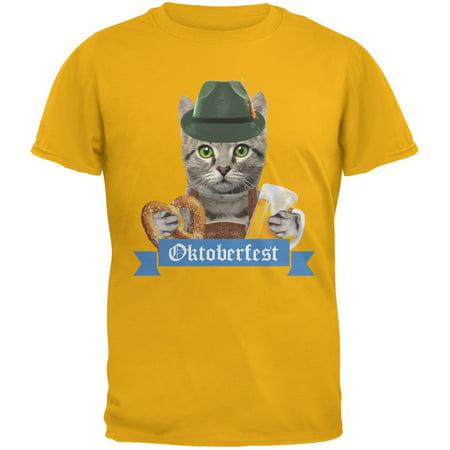Oktoberfest Funny Cat Gold Adult T-Shirt