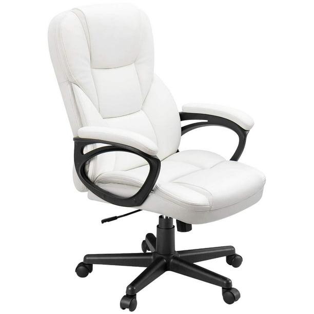 Walnew Business Office Furniture High Back Exectuive Managerial Deck Chair Adjustable Home Task Chair Swivel PU Leather Computer Chair with Lumbar Support (White)