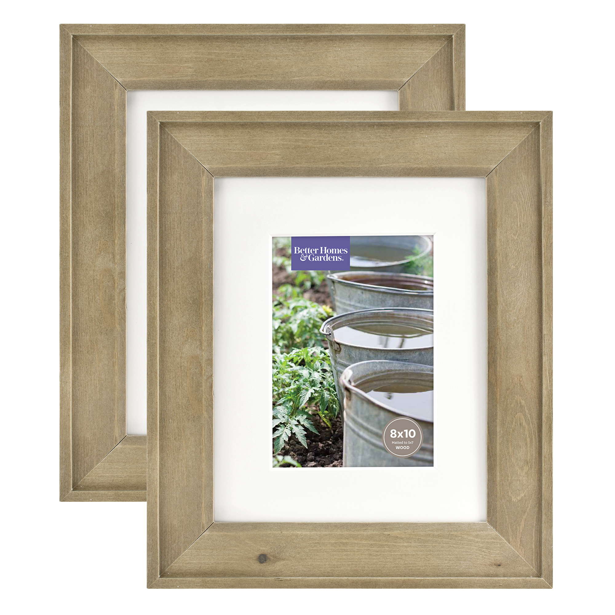 Better Homes & Gardens 8x10/5x7 Rustic Wood Picture Frame, 2pk