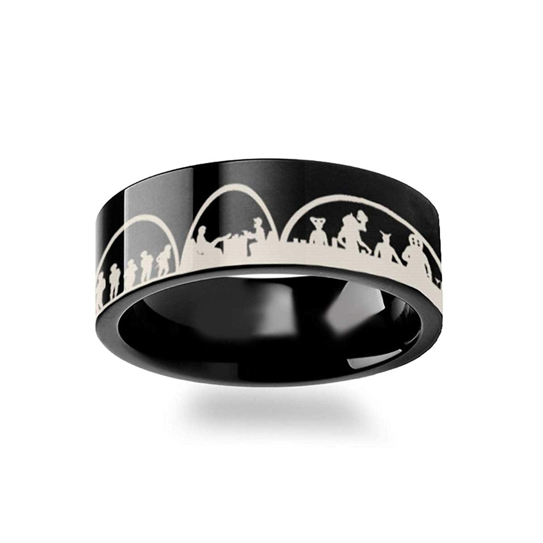 Lightweight Titanium Star Wars New Hope Jawas Jabbas Palace Black Titanium Engraved Ring Comfort Fit Thorsten Tatooine Titanium Rings for Men 4mm 12mm
