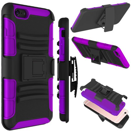 iPhone 6 Case, iPhone 6S Case, Tekcoo [Hoplite Series] Shock Absorbing Holster Locking Belt Clip Defender Heavy Full Body Kickstand Case Cover For iPhone 6 (Iphone 4s Case With Kickstand And Holster)