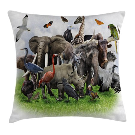 Wildlife Decor Throw Pillow Cushion Cover Digital Collage Of Wild Animals With African Safari