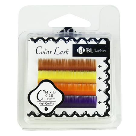 09157b36a41 BL Lashes Color Lash C Mix B 0.15 Thickness 4 Lines - Walmart.com