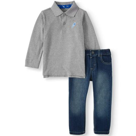 Garanimals Long Sleeve Polo Shirt & Stretch Denim Pants, 2pc Outfit Set (Toddler