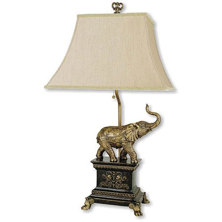 ORE International Elephant Table Lamp, Antique - Antique Gold Elephant Table Lamp
