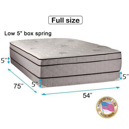 Dream Solutions Usa Fifth Ave Extra Soft Foam Eurotop  Pillowtop  54 X75 X13  Full Mattress   Low 5  Height Box Spring Set   Therapeutic Technology  Orthopedic Support  Quality Sleep System