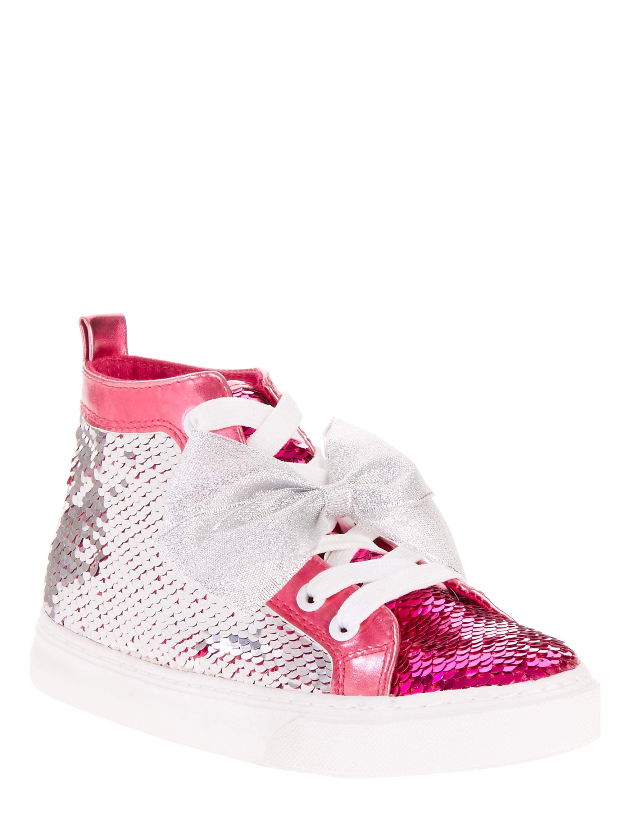 601b3b39c677b JOJO SIWA - Jojo Siwa Girl s Reverse Sequin Silver and Pink Bow High Top  Sneaker - Walmart.com