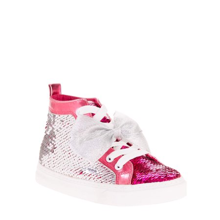 Pink Tennis Shoe (Jojo Siwa Girl's Reverse Sequin Silver and Pink Bow High Top)