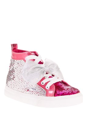 692546ba845c3 Product Image Jojo Siwa Girl's Reverse Sequin Silver and Pink Bow High Top  Sneaker