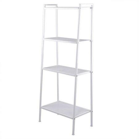 Ktaxon 4-Tier Bookcase Bookshelf Leaning Wall Shelf Rack Ladder Storage Furniture White ()