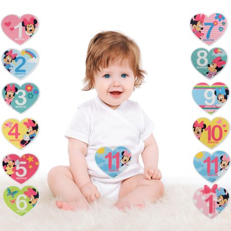 Disney Minnie Mouse Milestone Photo Prop Belly Stickers, Baby Girls, Age (Minnie Mouse Scrapbooking)