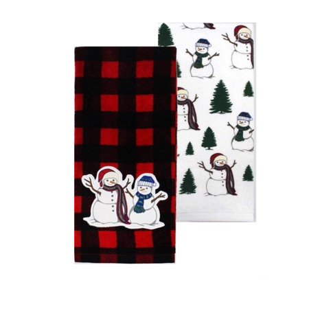 Snowman Kitchen Towels Set of 2 - Buffalo Plaid and Snowmen Print