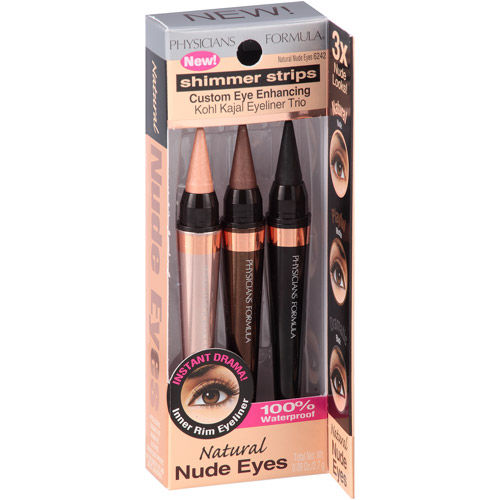 Physicians Formula Shimmer Strips Custom Eye Enhancing Kohl Kajal Eyeliner Trio, 6242 Natural Nude Eyes, 0.09 oz