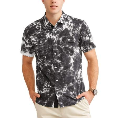 Short Sleeve Bow Tie - Men's Tie Dye Woven Short Sleeve Shirt